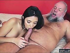 Mexican Frida Sante enjoys to suck and rail on an old fuck-stick