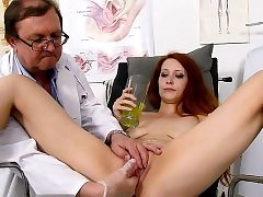 Redhead doctor gaping and cumshot