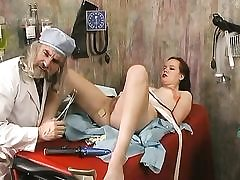 Dirty doctor inspects a girl and fucked dildo
