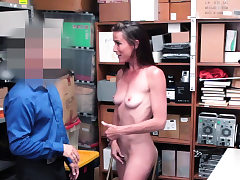 Nervous slim Cougar splattered and penetrated by security