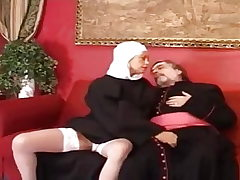 Elderly priest pound a young and spectacular nun.