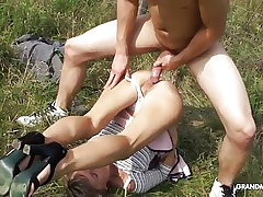 Granny fucked on the grass and inhaling young man sausage