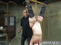 Chubby temptress toyed with while suspending in chains