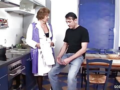German Vintage Grannie Seduce to Screw by Young Guy in Kitchen