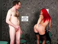 Naughty redhead Britt taunting during JOI
