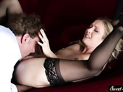 Stockinged stepdaughter dickriding in cowgirl