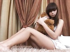 Gorgeous russian teenager peels off on her sofa