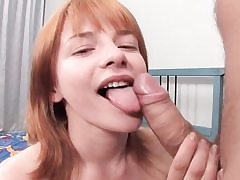 Redhead stunner takes dick in her backside and deepthroats