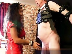 Hot stunner in her red leather dress well-prepped to manhandle his firm dick